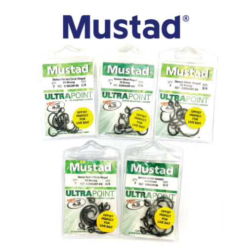 Mustad Ultrapoint Ringed Demon Perfect Offset Circle Hook 3X Strong R39942NP-BN