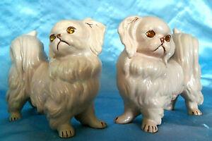 Vintage pair (2) Porcelan Ceramic Pekinese Shih Tzu Dogs Figurines