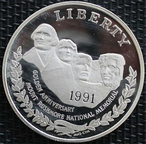 USA-ONE-DOLLAR-LE-MONT-RUSHMORE-1991-ARGENT