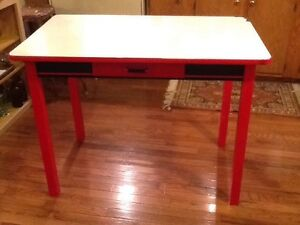 Vintage Red White Porcelain Enamel Top Kitchen Table