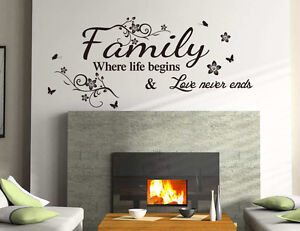 Familia Inspirador Decoracion Pared Frases Pegatina Vinilo Pared - Decoracin-de-pared