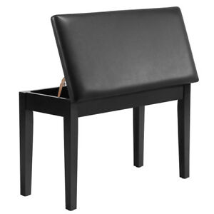 Black Duet Piano Bench Stool Padded Leather Cushion Comfort Storage Music Sheet