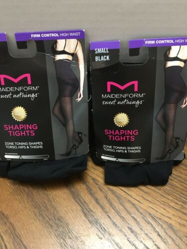 Lot of 2 Maidenform Black High Waist Firm Control Shaping Tights Size SMALL NEW