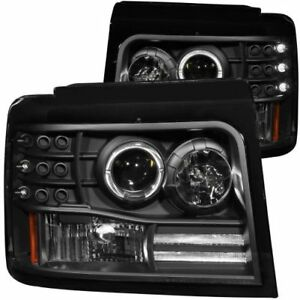 Anzo-111184-Projector-Headlight-Set-w-Halo-Clear-Lens-Black-Housing-Pair