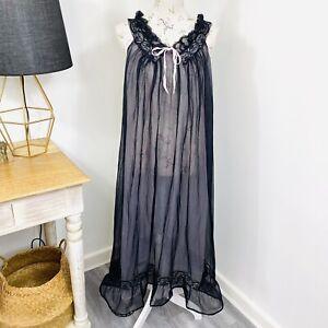 Vintage-60s-Etam-Nightgown-Nightie-Black-Nylon-Lingerie-Negligee-fit-10-16