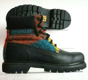Details About Caterpillar Cat Womens Ladies Colorado Wool Pattern Leather Black Boots Uk 5