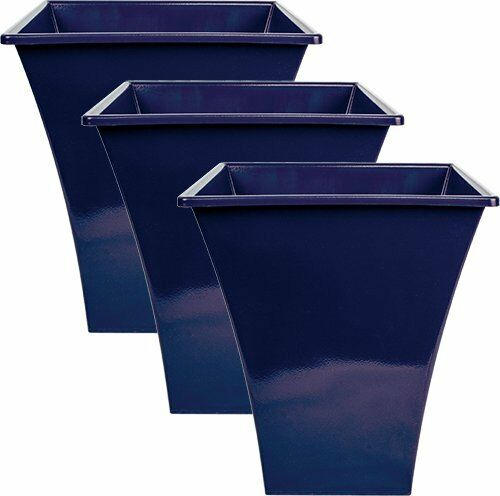 3 X Blue Large Plant Pots Planters Indoor Outdoor Garden Tall