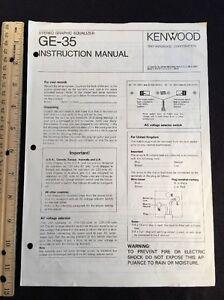 kenwood ge 35 stereo equalizer original owners manual ge35 a16 ebay rh ebay com Audio Equalizer Stereo Equalizer Hook Up Diagram