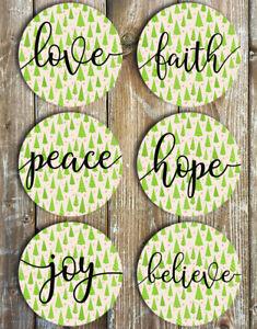 Christmas Coasters Set of 6 Non Slip Neoprene Love Faith Peace Hope Believe Joy