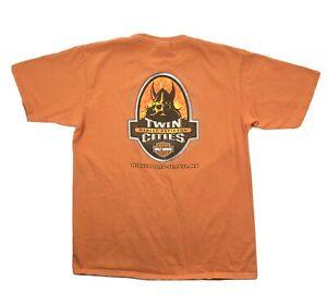 Harley Davidson Mens Large Orange Twin Cities Minneapolis Short Sleeve T Shirt