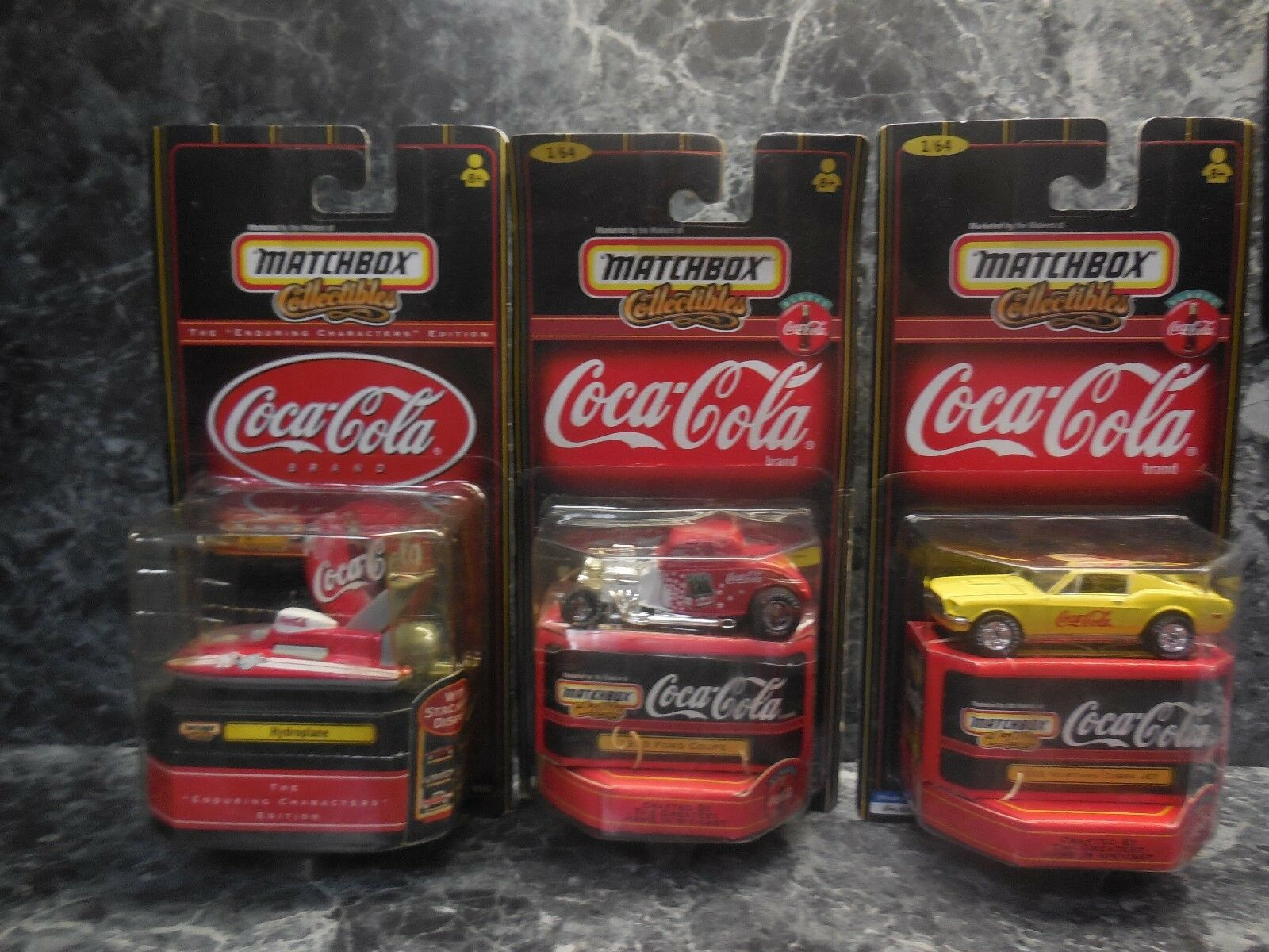 3 1999 matchbox coca-cola cars  1 hydroplane 1933 ford coupe 68 mustang cobra je