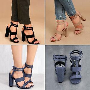 Ladies-High-Heels-Shoes-Open-Toe-Ankle-Sandals-Strap-Buckle-Summer-Beach-Pump