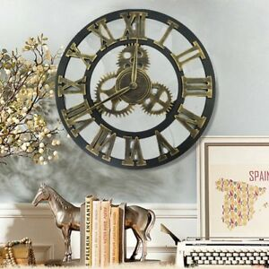 Roman-Arabia-Numerals-Large-Gear-Wall-Clock-Vintage-Rustic-Wooden-Luxury