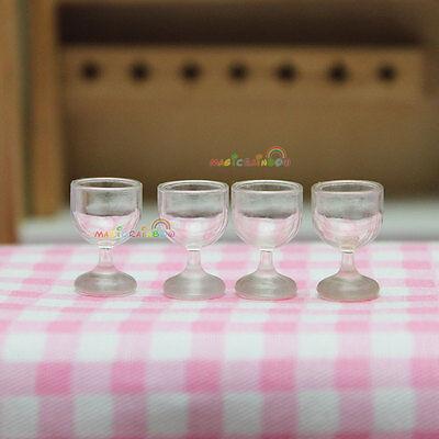 4 x Wineglass Goblet Wine Glasses Transparent Plastic Dollhouse Miniature 1:12