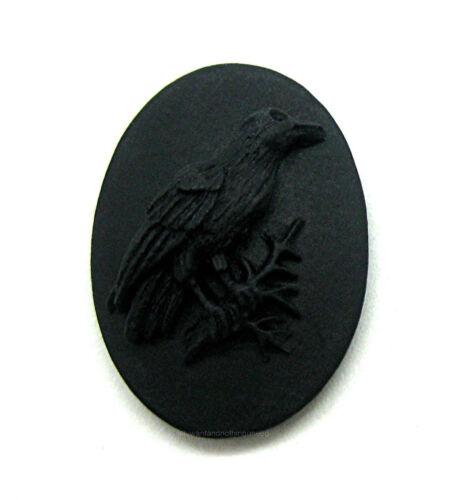 3 Matching L/&R Pairs BLACKBIRD GOTH CROW RAVEN on BLACK 18mm x 13mm EMO CAMEOS