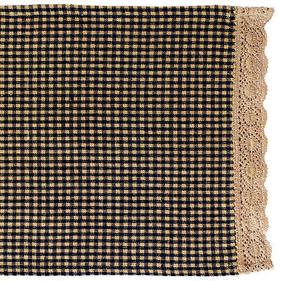 1 Country Primitive Burgundy Grannys Check Placemat with Crochet Lace