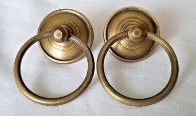 "Sets of 2 Aged Brass Drawer Dresser Cabinet Pulls Knobs Handles 1-3//8/"" Dia Round"