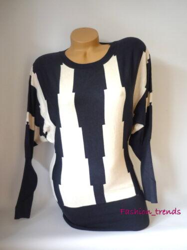 Strickkleid Longpulli Minikleid Pullover Gestreift mit Fledermaus Ärmel*S M L XL