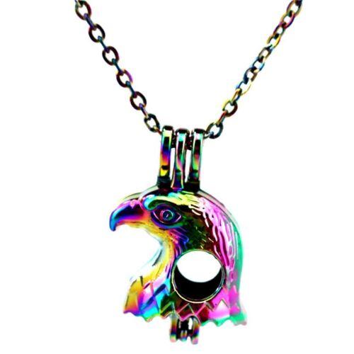 "C629 Rainbow Multi Color Aigle Perle Cage Médaillon Collier Pendentif 18/"""