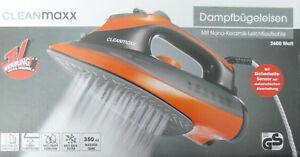 Cleanmaxx-Dampfbuegeleisen-2600-Watt-Orange-Mit-Nano-Keramik-Leichtlaufsohle-Neu