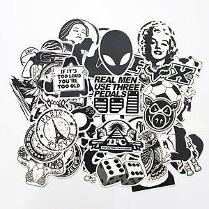 Stickerbomb-25-Mixed-Stickers-Black-amp-White-Laptop-Phone-Skateboard-School-Drift