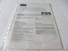 Sansui D-570 Owner's Manual  Istruzioni in Italiano Nuovo