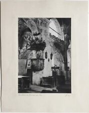Vintage 1920s bromoil church interior, Ossiach, Austria,signed