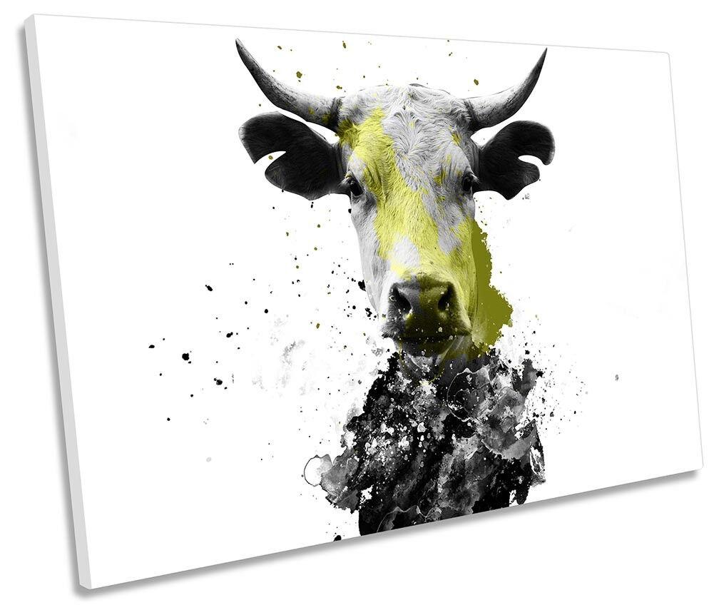 Modern Cow Weiß SINGLE CANVAS WALL ARTWORK Print Art
