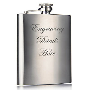 Personalised-Engraved-6oz-Hip-Flask-Mens-Wedding-Usher-Best-Man-Boyfriend-Gift