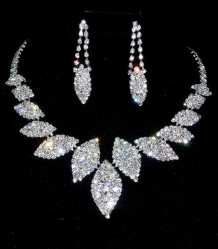 Diamante Strass Tono Argento Matrimonio Prom Collana Gioielli Set Regalo In Scatola