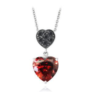 Rouge-amp-Noir-Zircone-double-coeur-pendant-collier-45-7CM