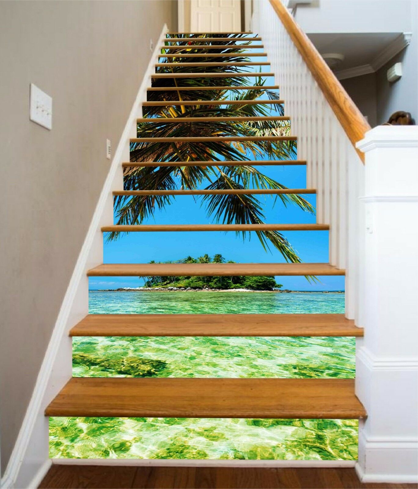 3D Sea Island 215 escaliers contremarches Décoration Photo Murale Autocollant Vinyle Papier Peint US