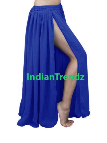 2 Layer Slits Skirts Chiffon Full Circle Gypsy Belly Dance Tribal Flamenco Jupe