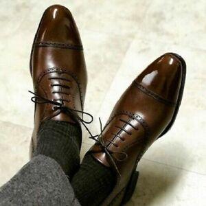 Homme-Fait-a-la-main-Chaussures-en-cuir-marron-derbies-a-lacets-formel-robe-Casual-Wear-Bottes