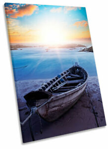Beach Boats Blue Seascape SINGLE CANVAS WALL ARTWORK Print Art