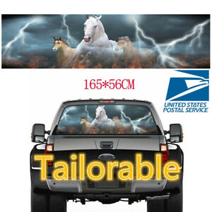 SUV// Truck //Pickup Rear Window Perforated Horses with Lightning Graphic Sticker