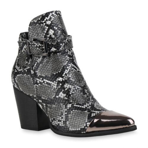Damen Stiefeletten Ankle Boots Leicht Gefütterte Booties Prints 831941 Schuhe