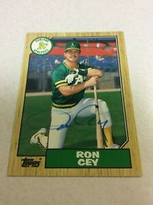 1987 Topps Traded #22T Oakland Athletics Ron Cey Autographed Baseball Card