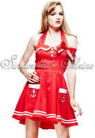 New Hell Bunny RED Motley Sailor Mini Dress Size M UK 12-14