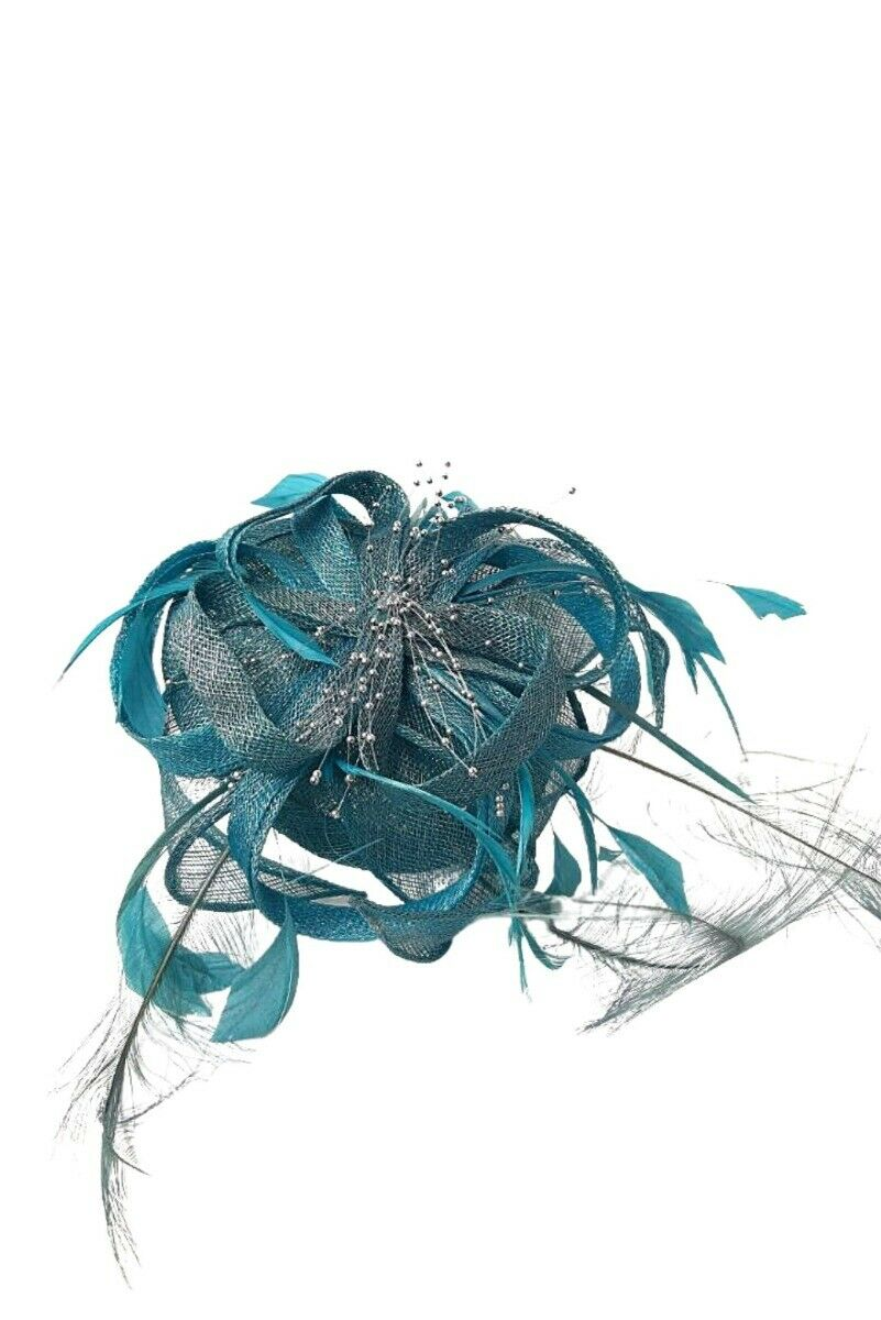 Suzie Mahony Designs Blue Feather Headpiece - One Size