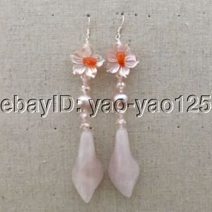 K071715-Purple-Pearl-Rose-Quartz-Flower-Crystal-Earrings-Silver-Hook
