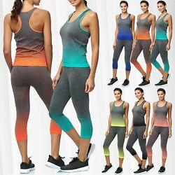 Damen Zweiteiler Sport Anzug Kombi Set High Waist Leggings Fitness Top Training