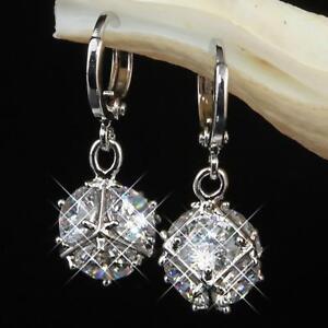 Boucle-d-039-oreille-zirconium-blanc-750er-plaque-or-18-carats-Argent-o1590