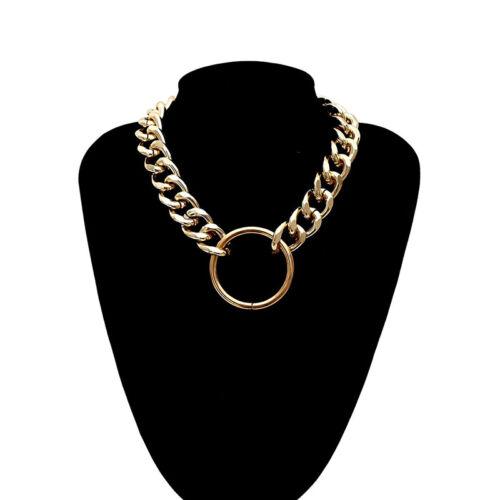 Punk Gothic Women Girls Round Metal Chain O Ring Choker Collar Necklace Gi rE