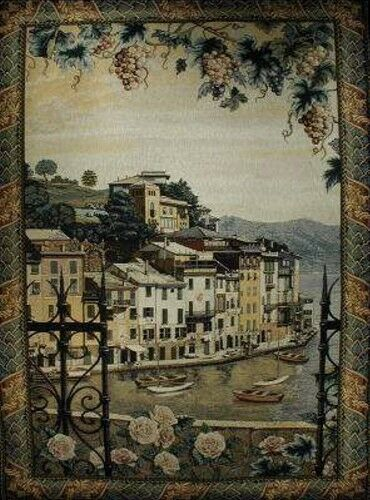 EUROPEAN VILLAGE SEAPORT  Portofino LARGE TAPESTRY, Free Shipping