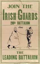 WW1 RECRUITIN POSTER 218TH BN CANADIAN IRISH GUARDS NEW A4 PRINT EDMONTON CANADA