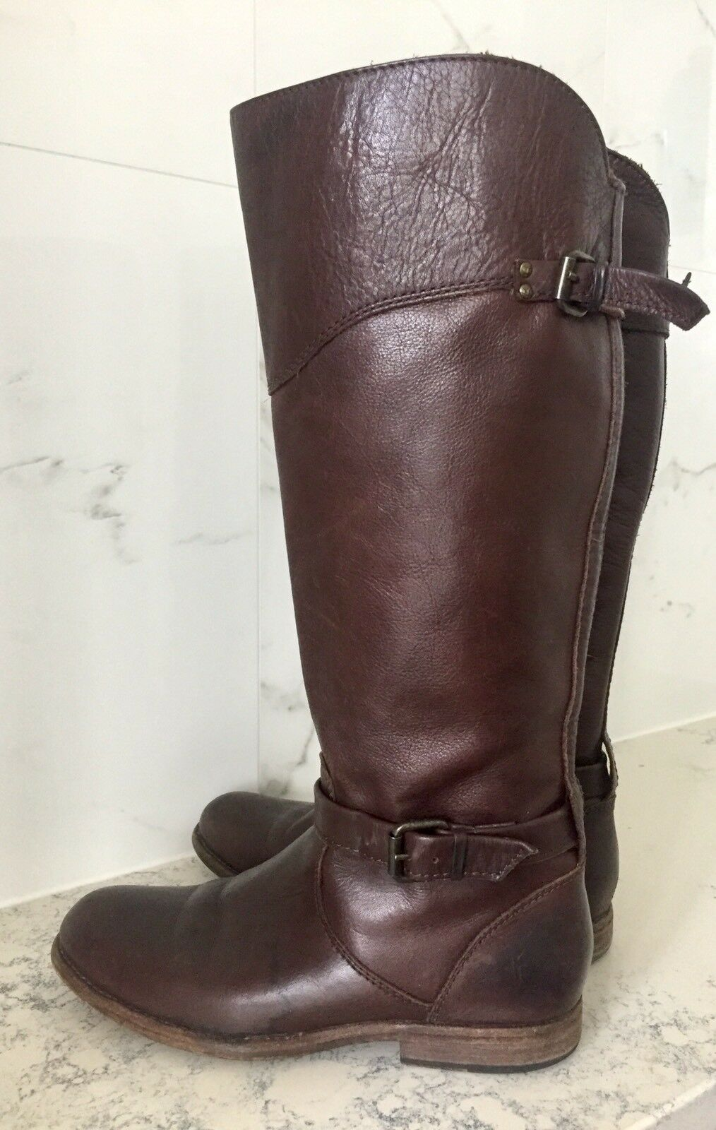 $400 FRYE Phillip Riding Tall Boot Buckle Brown Leather EXTENDED CALF Sz 8