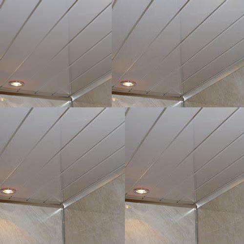 Gloss White 2 Strip Bathroom Cladding Ceiling Panels Pvc Shower Wet Wall Panels