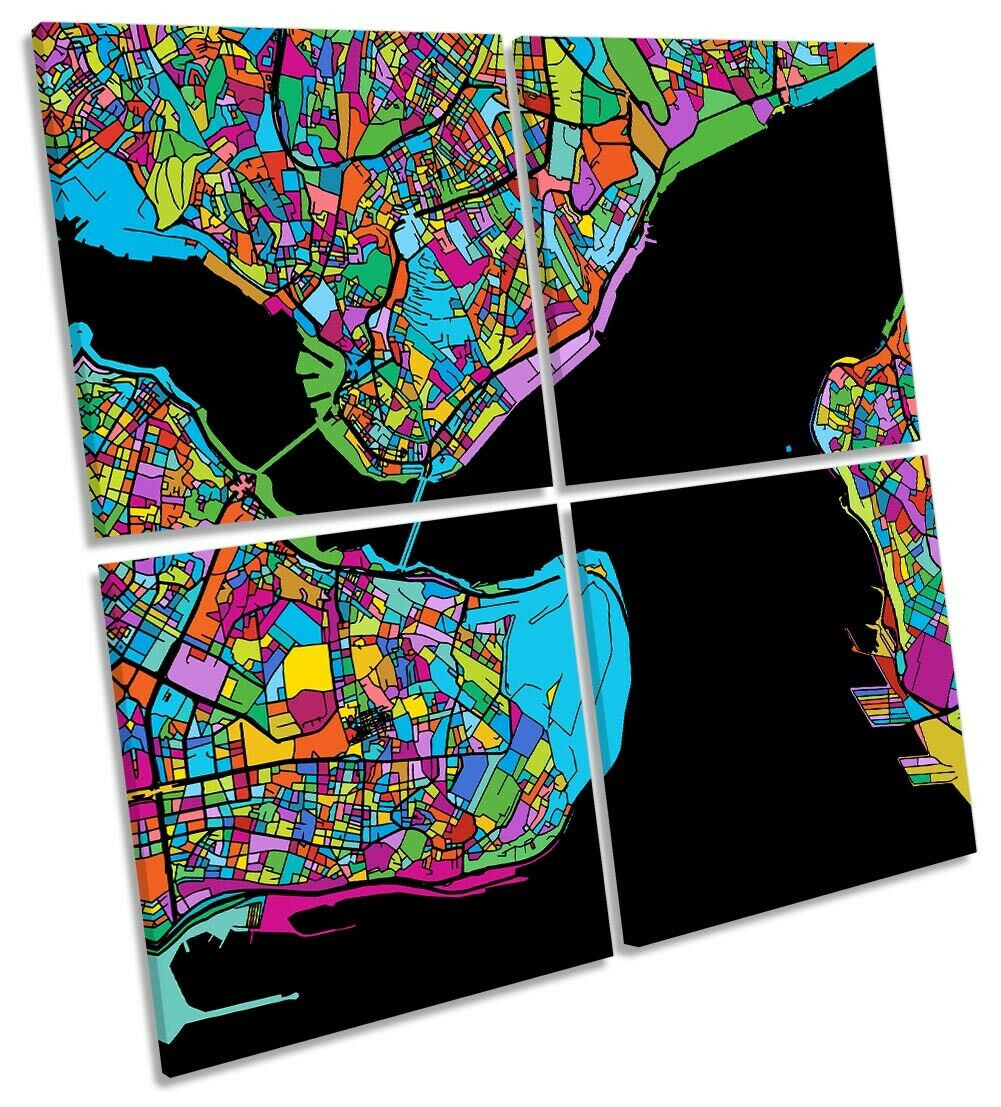 Istanbul Stadt Modern Map Bild MULTI CANVAS Wand Kunst Square Multi-Colourot