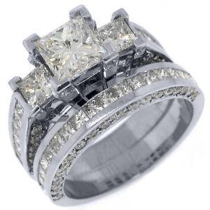 35 CARAT DIAMOND ENGAGEMENT RING WEDDING BAND SET SQUARE 3 STONE